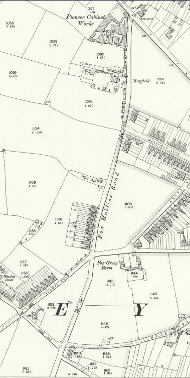 Fox Hollies Road north O.S. 1916 (Birmingham Libraries)
