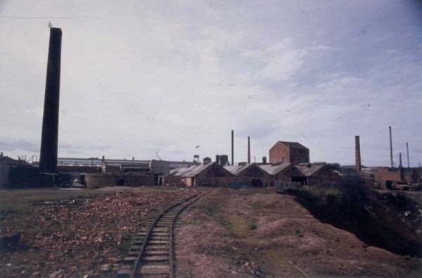 A photograph of the Bayliss works from the east, taken in 1972 by H. Birch a few years after closure