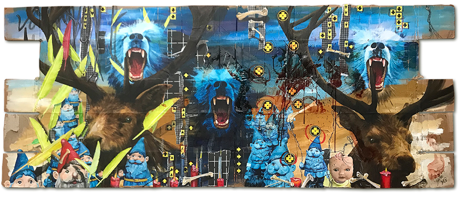 Art.154: Totem & Taboo IV – Rise, 01/2018, 94 x 230cm, mixed media (collage, acrylic colours & blood) on corrugated   cardboard