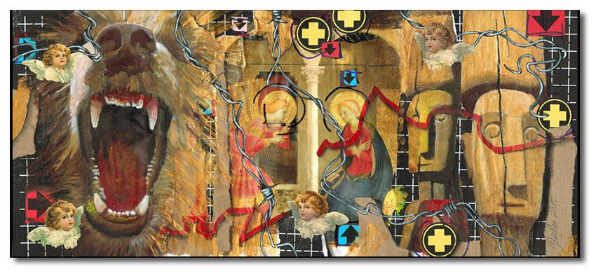 Art.080: 'Fra Angelico', 01/2015, 16 x 39cm, Mischtechnik (Collage & Acrylfarben auf Papier)