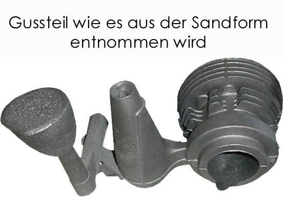 Gussteil, wie es aus der Sandform kommt