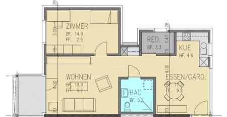 Grundriss 2½ Zimmer Randwohnung