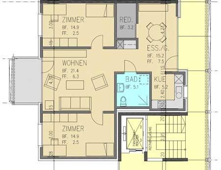 Grundriss 3½ Zimmer Wohnung