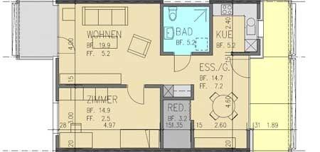 Grundriss 2½ Zimmer Standardwohnung