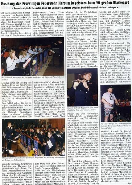 Bericht vom Jubiläumskonzert 1996