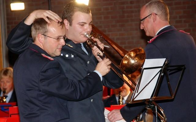 """2013: Duo an der Zugposaune, Johannes Opitz und Jannick Lorenz bei der """"Bayrischen Polka"""""""