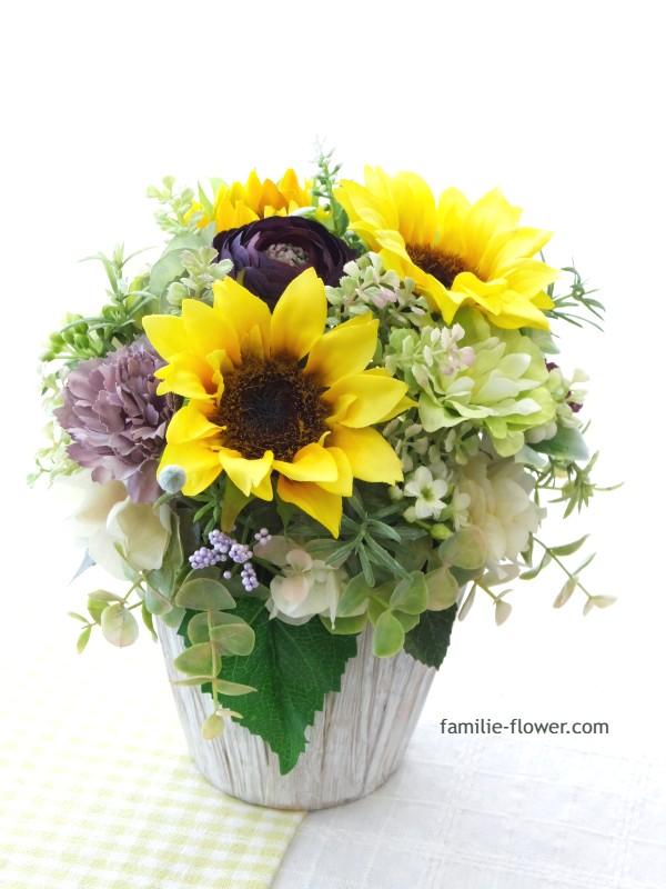 ひまわりの造花アレンジメント