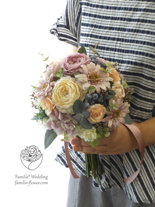 アンティークなガーベラと実ものの造花ブーケ