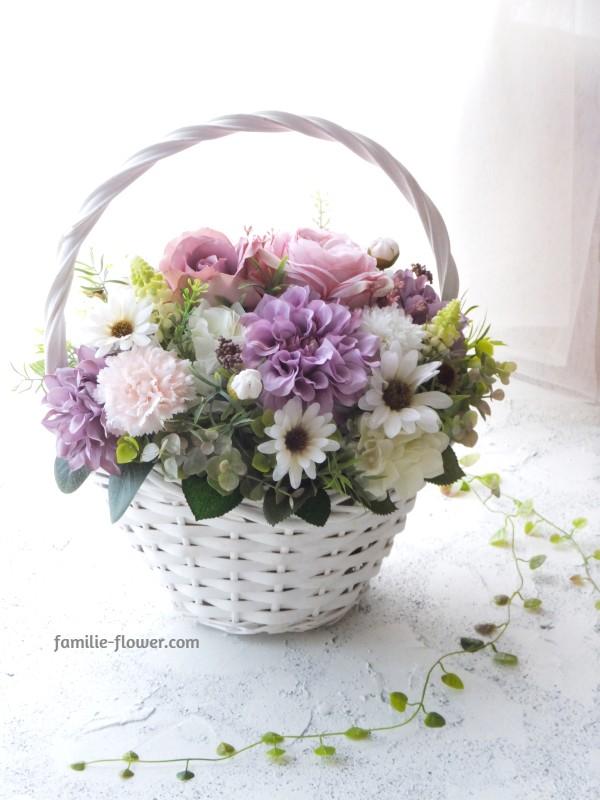 モーブピンクの造花アレンジメント af-74