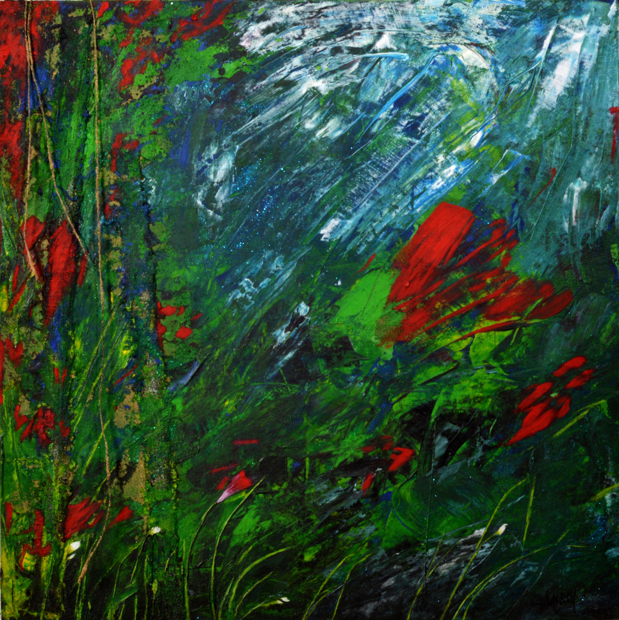 Behind the garden - 60x60 cm - vendu