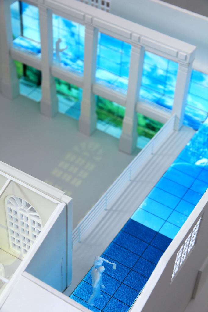 Architekturmodell beleuchtet mit EL-Folie