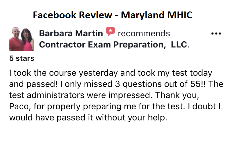 Maryland MHIC Contractor License Prep
