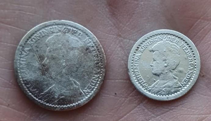 Wilhelmina: kwartje 1914 en dubbeltje 1910