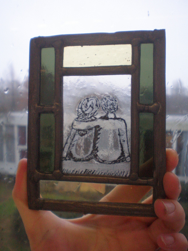 Forever together. Technique : Stained glass, painting ( this object is created on my education )