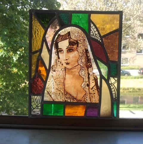 Maria. Technique : Stained glass, painting ( this object is created on my education )