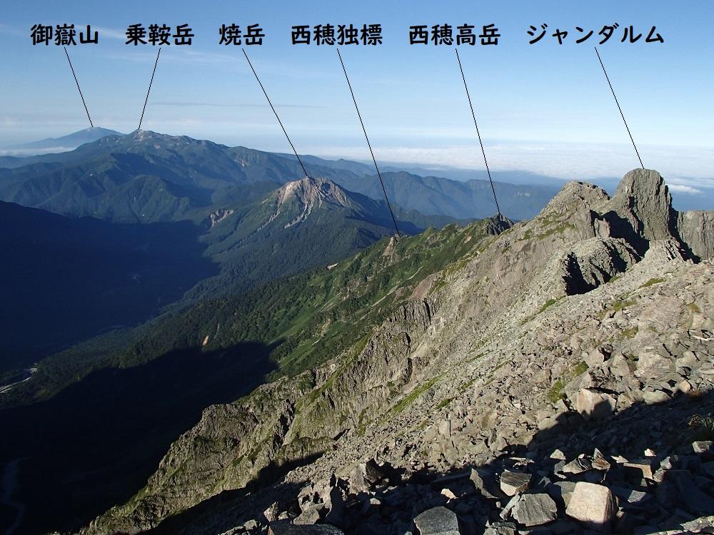 奥穂高岳から南西方面