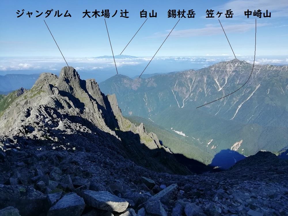 奥穂高岳から西方面