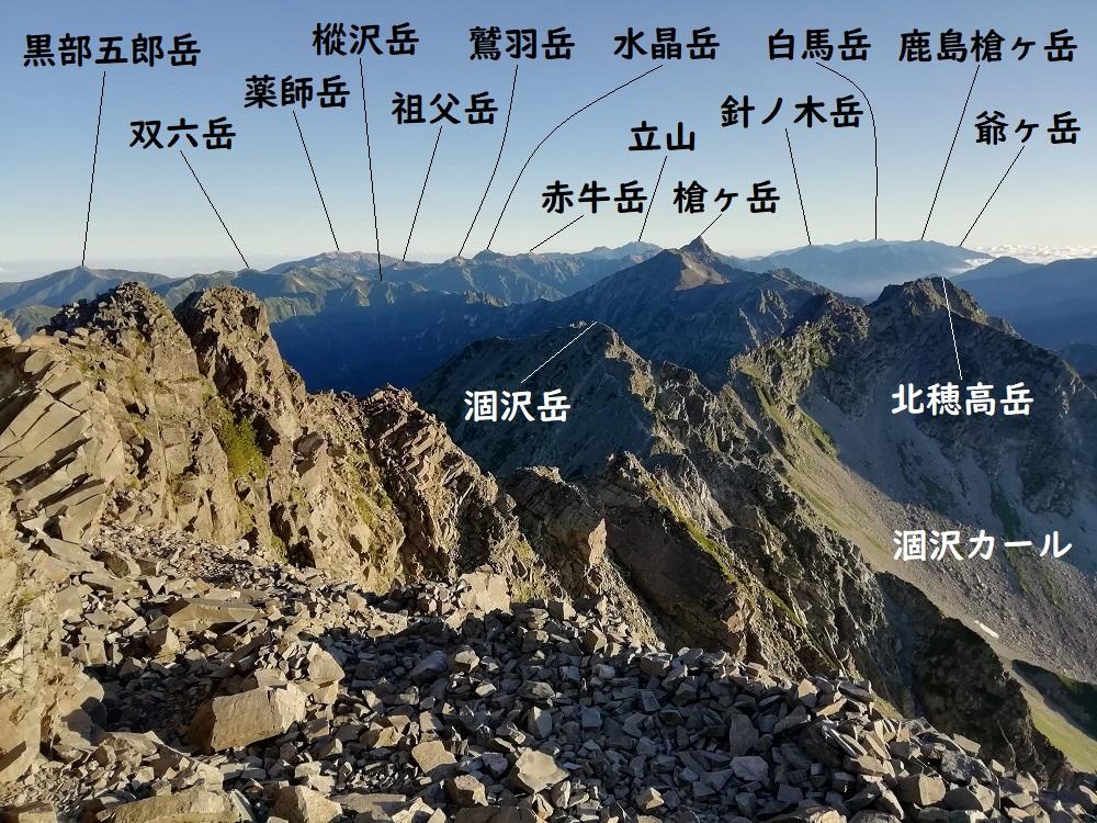 奥穂高岳から北方面
