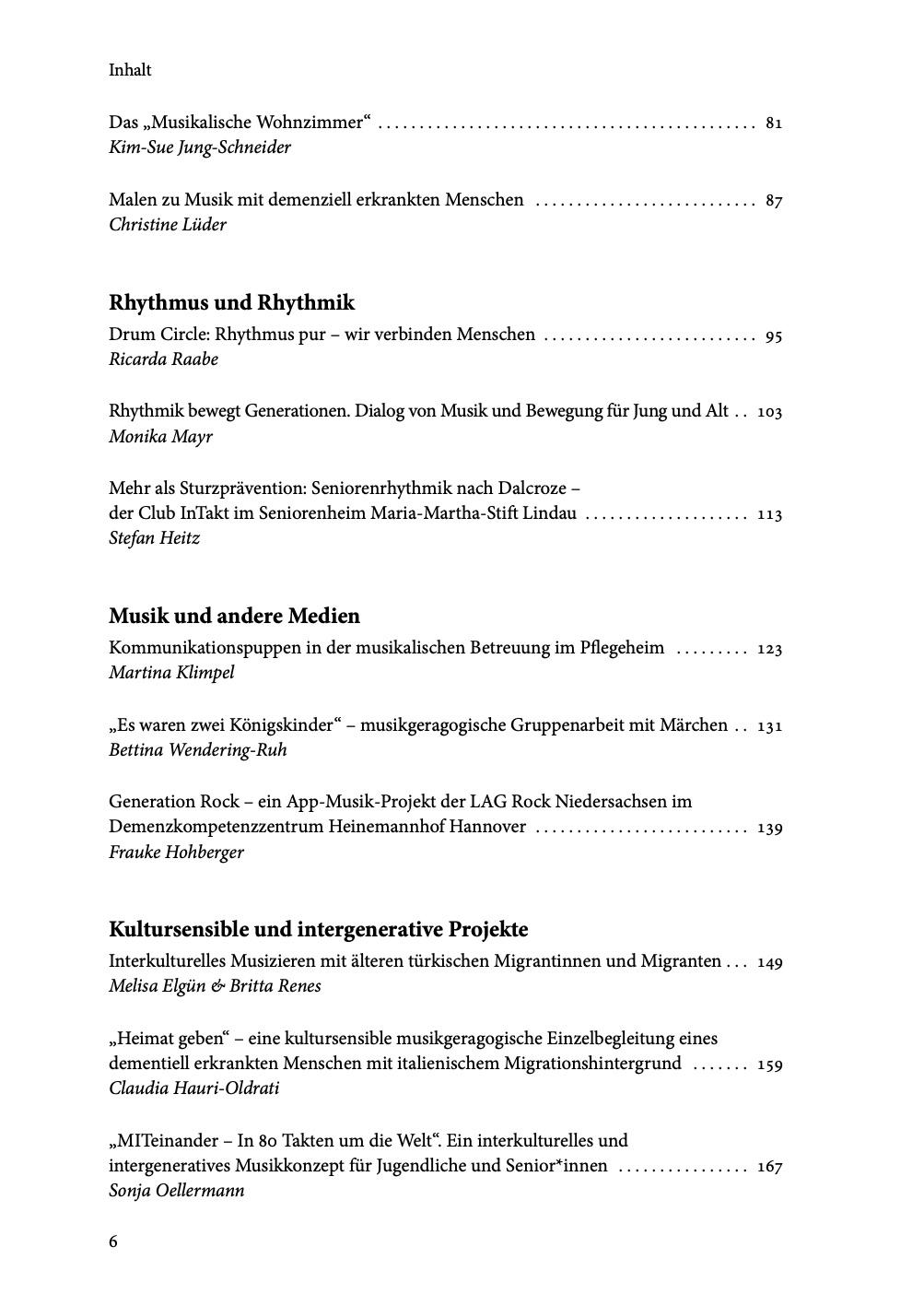 Ausschnitt Inhaltsverzeichnis