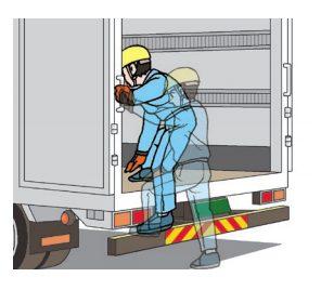 トラック荷台からの転落事故を防ぐ