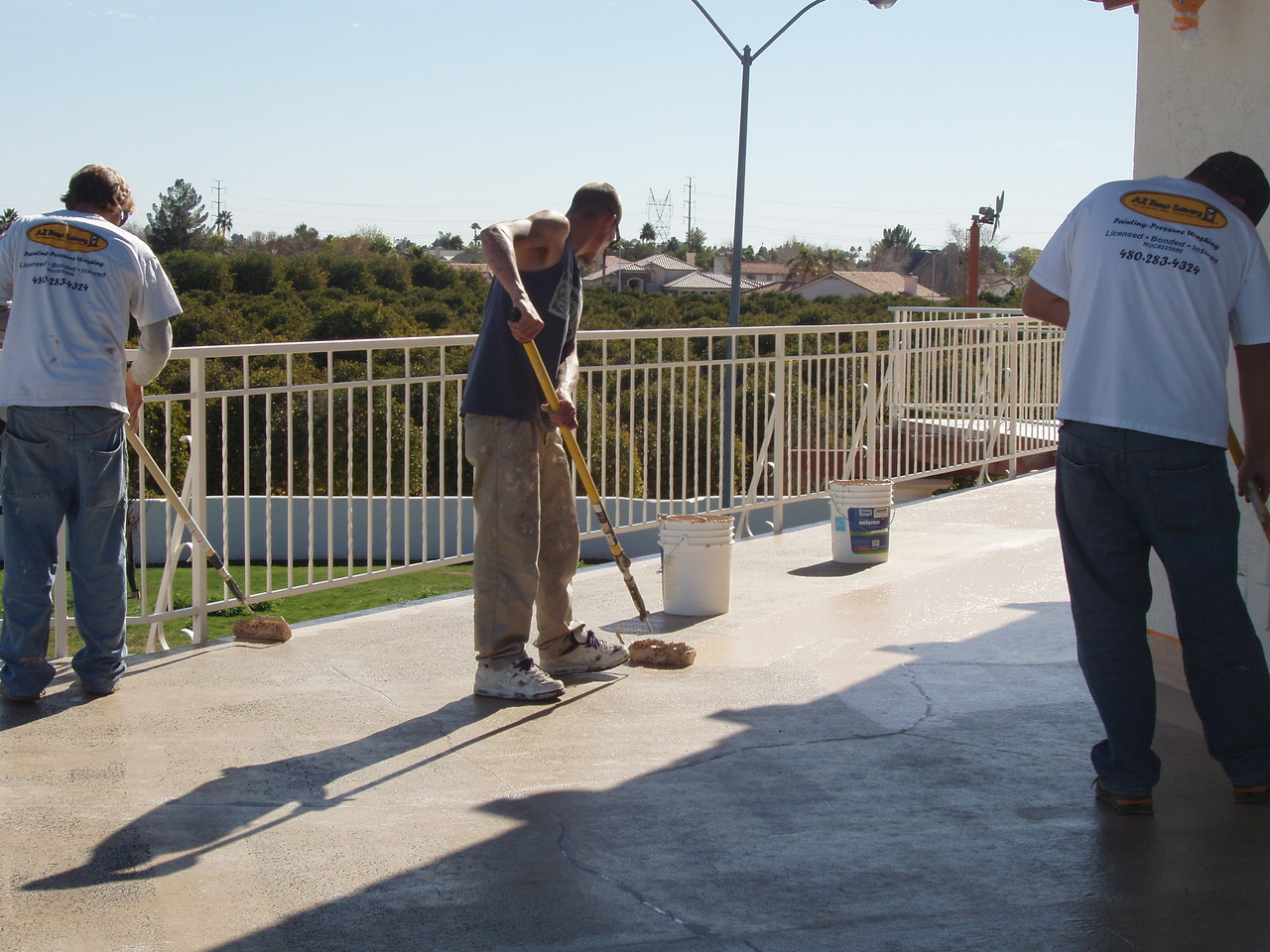 EnviroCoatings -Application of the first coat of Ceramic InsulCoat Roof.