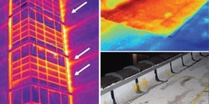 Photo: Infrared scans of a building envelope reveal moisture saturation, air loss, and energy loss in buildings.
