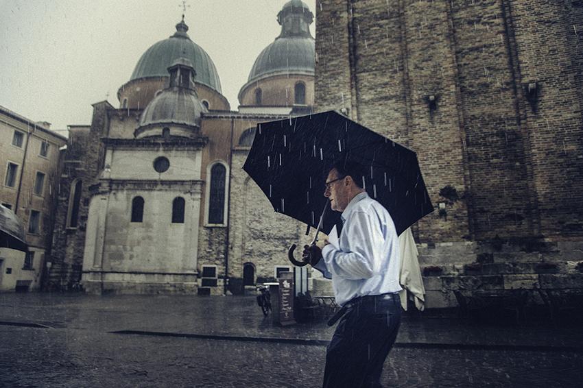 40x60 cm - Poésie d'un jour de pluie à Trévise (Italie)