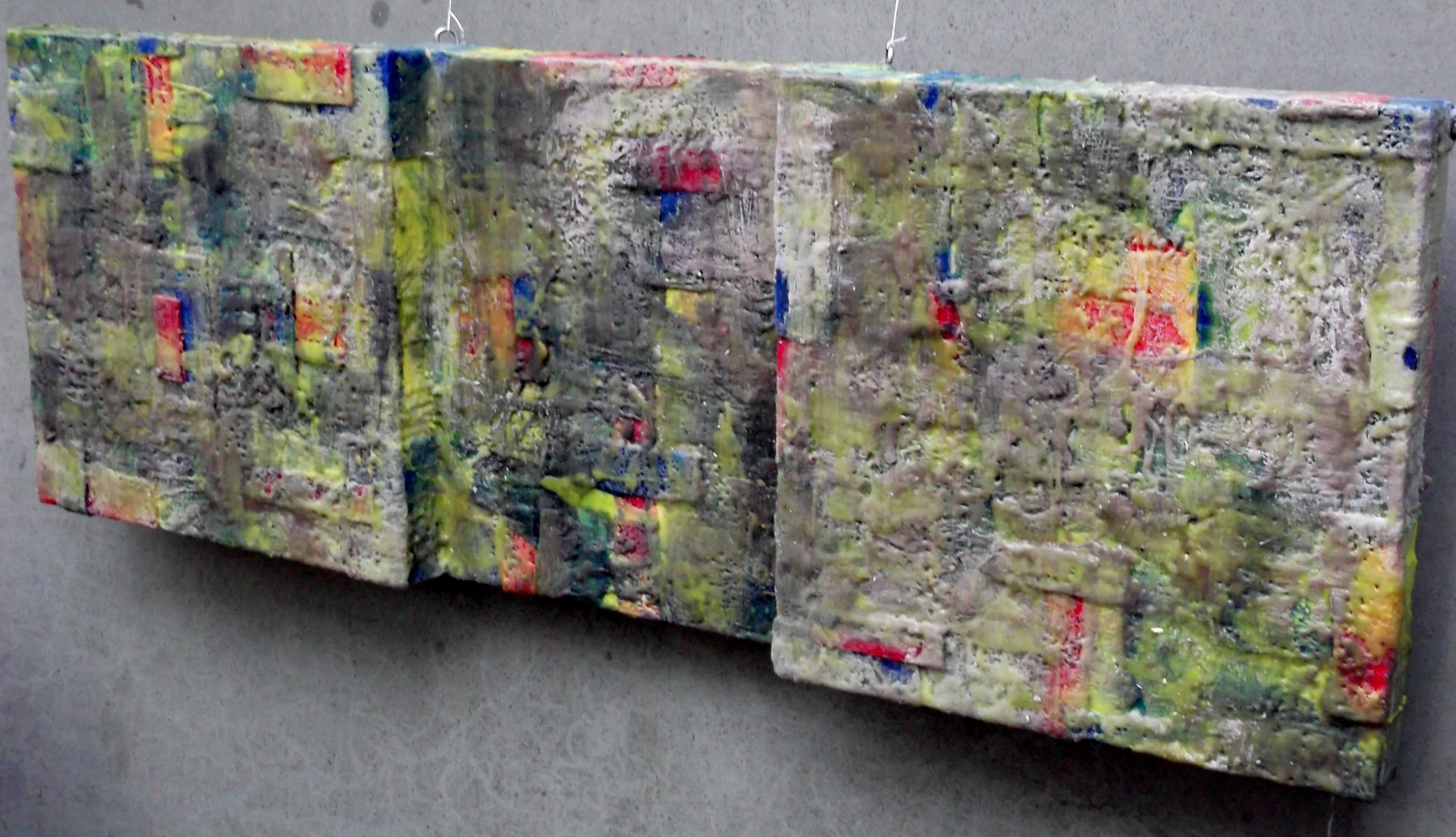 """ Bergamo #02 ""   2014 - scented wax stratification on canvas -  ( right side) cm 120 x 40 x 10"