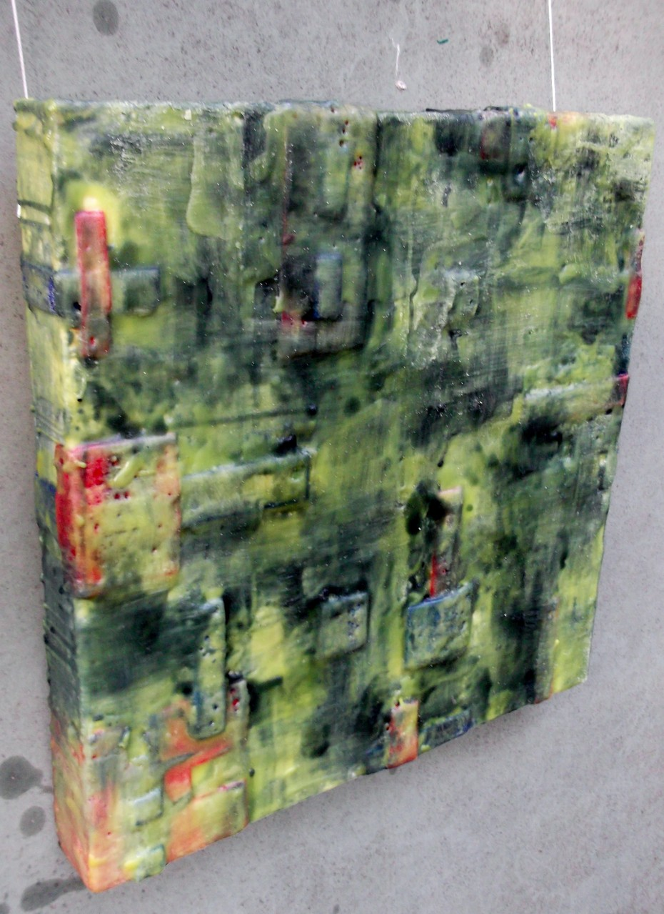 "-Undercover site # 01 - ""City of giants"" 2014 (1/50)- scented wax stratification on canvas -( left side) -cm 40 x 40 x 5"