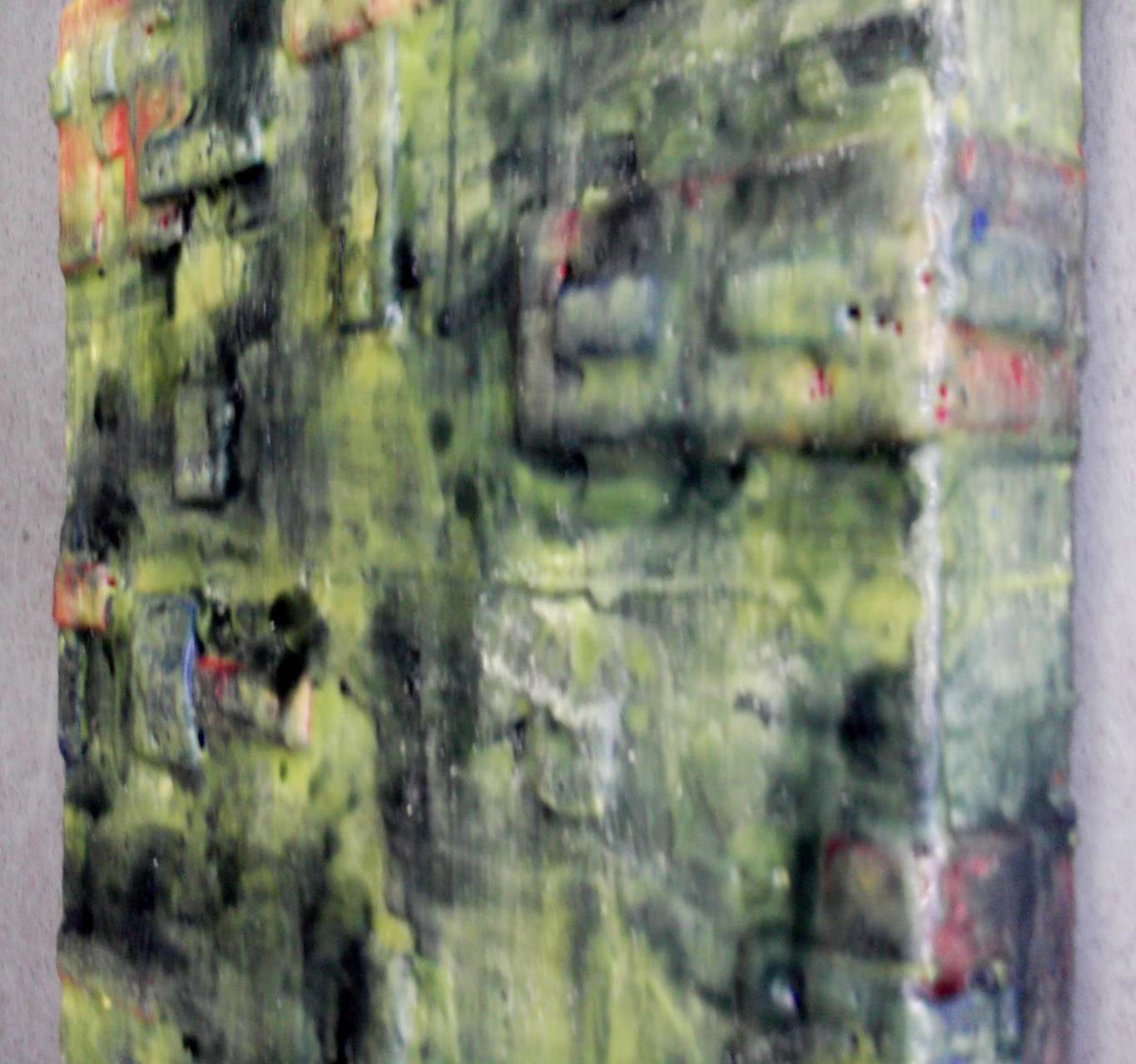 "-Undercover site # 01 - ""City of giants"" 2014 (1/50) - scented wax stratification on canvas - (right side) - cm 40 x 40 x 5"