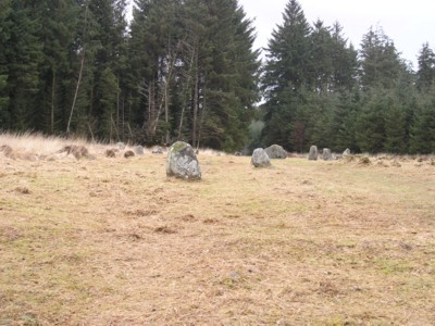 The Southern Stone row, towards the stone circle of Froggymead.