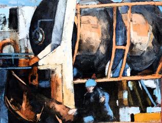 """""""Les tambours"""", huile sur papier format 100x81 cm"""