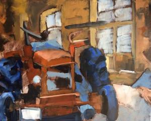 """""""Le tracteur"""", huile sur papier format 100x81 cm"""