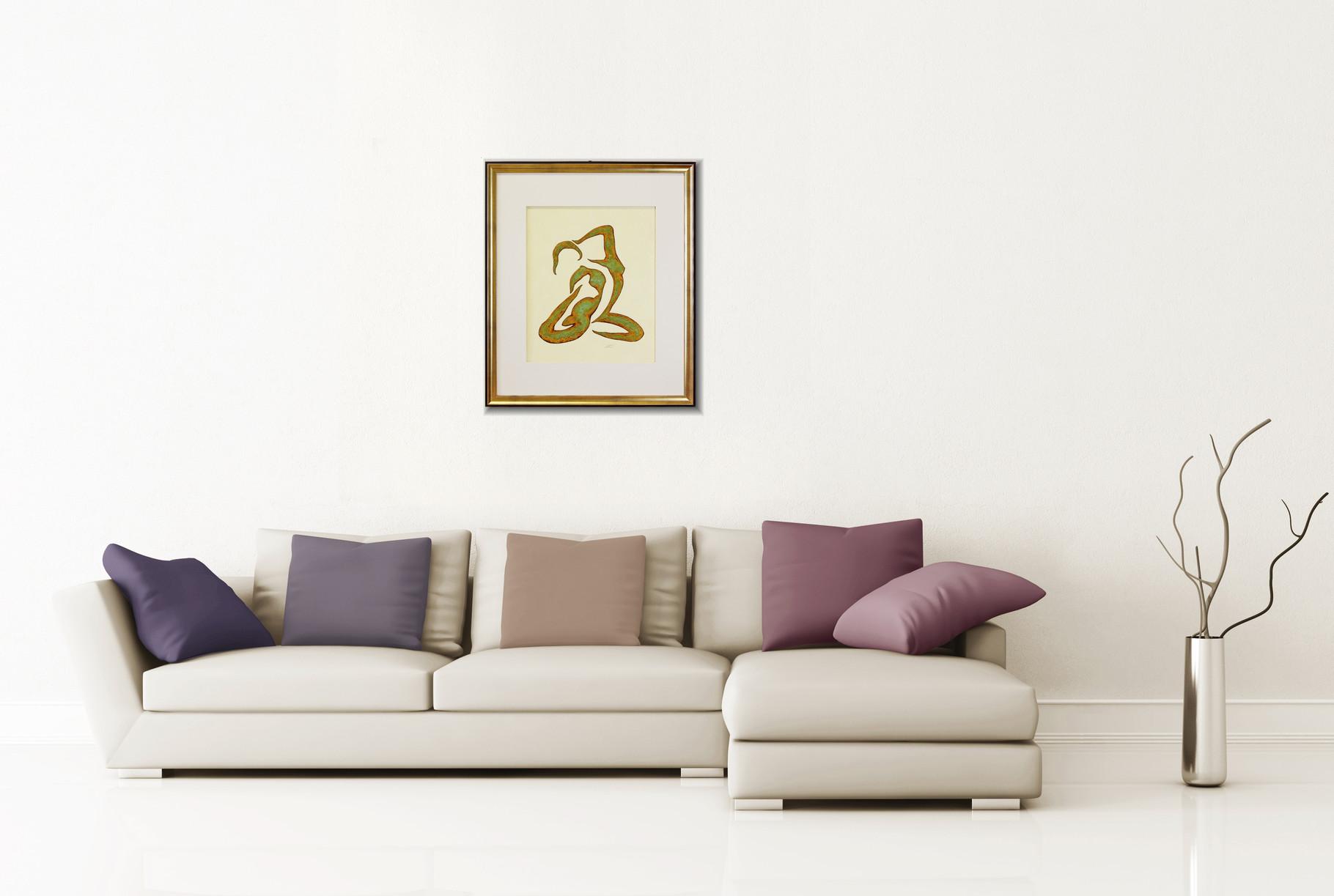 """Ölbild, oxidierte Collage """"Anmut"""""""