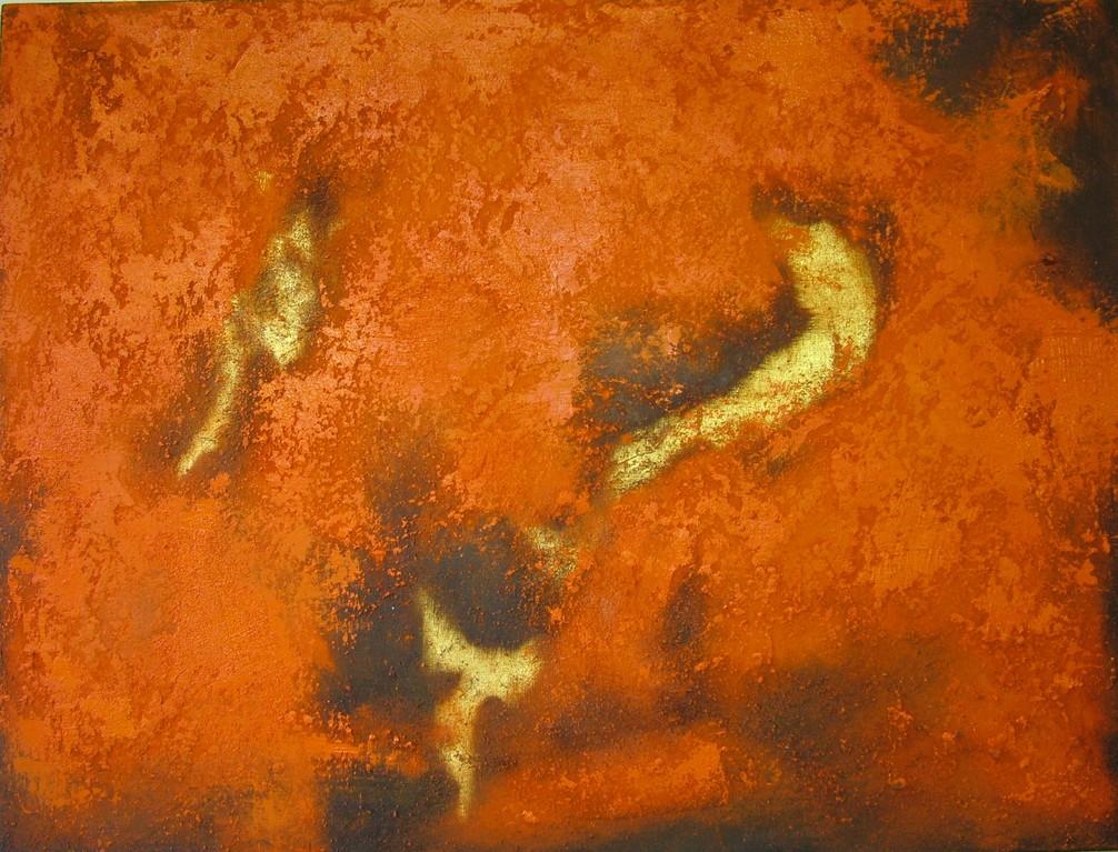"""Abstraktes Bild """"Wiege der Sterne"""" (Öl, Sand, Farbpigmente, Rostoxid auf Leinwand mit Keilrahmen)"""