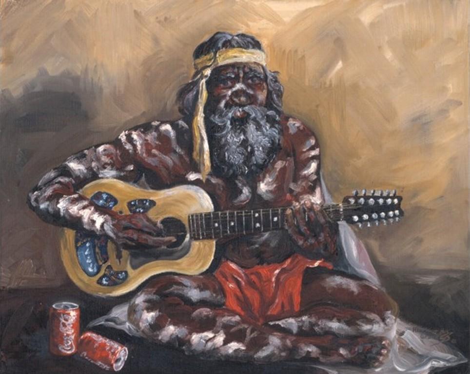 """""""Aborigine mit Gitarre"""" (Ölbild auf Leinwand)"""