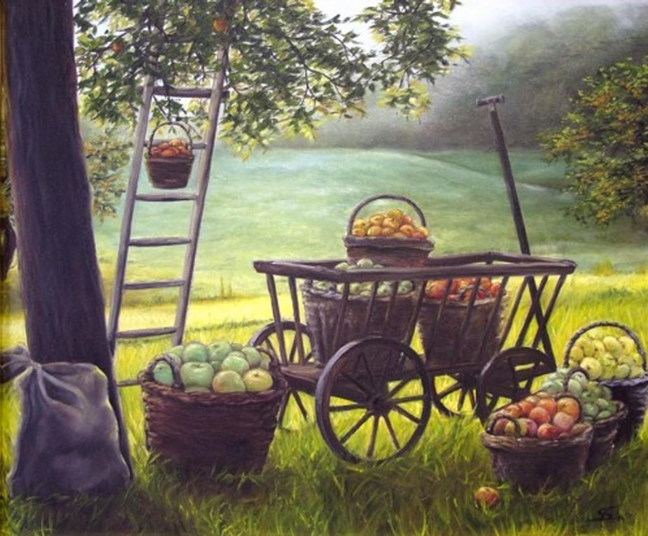 """Gemälde """"Apfelernte bei Gegenlicht"""" (Ölfarbe auf Leinen, Keilrahmen)"""