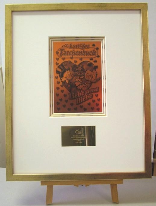 """Hochwertige Rahmung """"Goldenes Buch"""" (Rahmung mit 5-fach Museumspassepartout, vergoldet, Druck, Messingplakette)"""