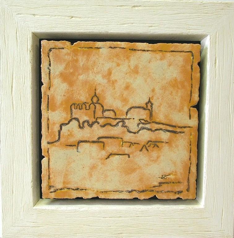 """Reliefbild """"Burg Ranis"""" (Keramik glasiert und Wachsglasur)"""