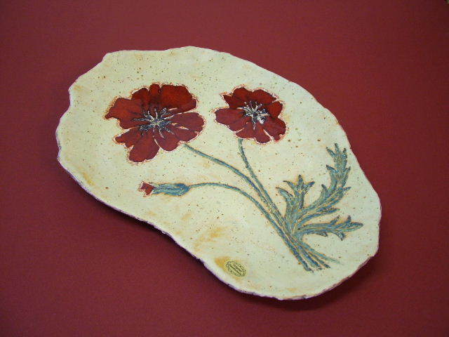 "Objektkeramik ""Mohnblumen"" (Keramik, Glasur, Wachsglasur)"