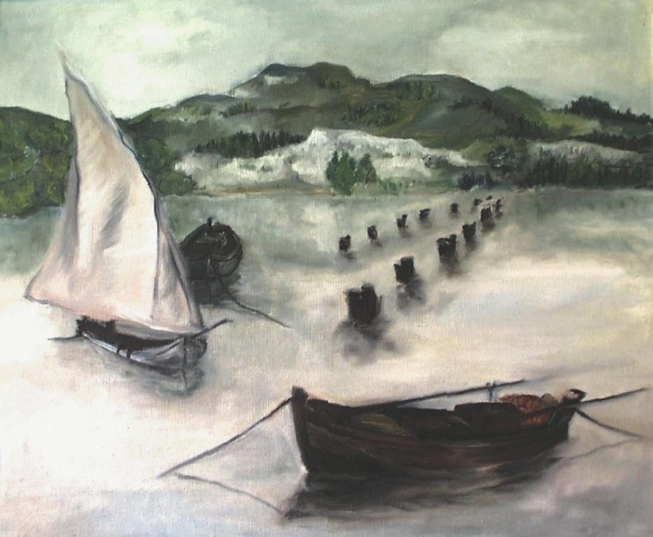 """Bild """"Boote"""" (Öl auf Leinwand)"""