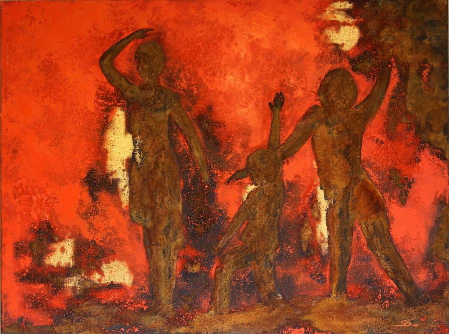 """Abstraktes Bild, Ölbild """"Schattentanz"""", Öl auf Leinen, Pigmente, Rost und Blattgold"""