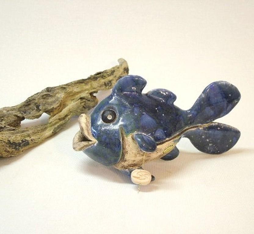 """Skulptur """"Kleiner Fisch"""" (glasierte Keramik)"""