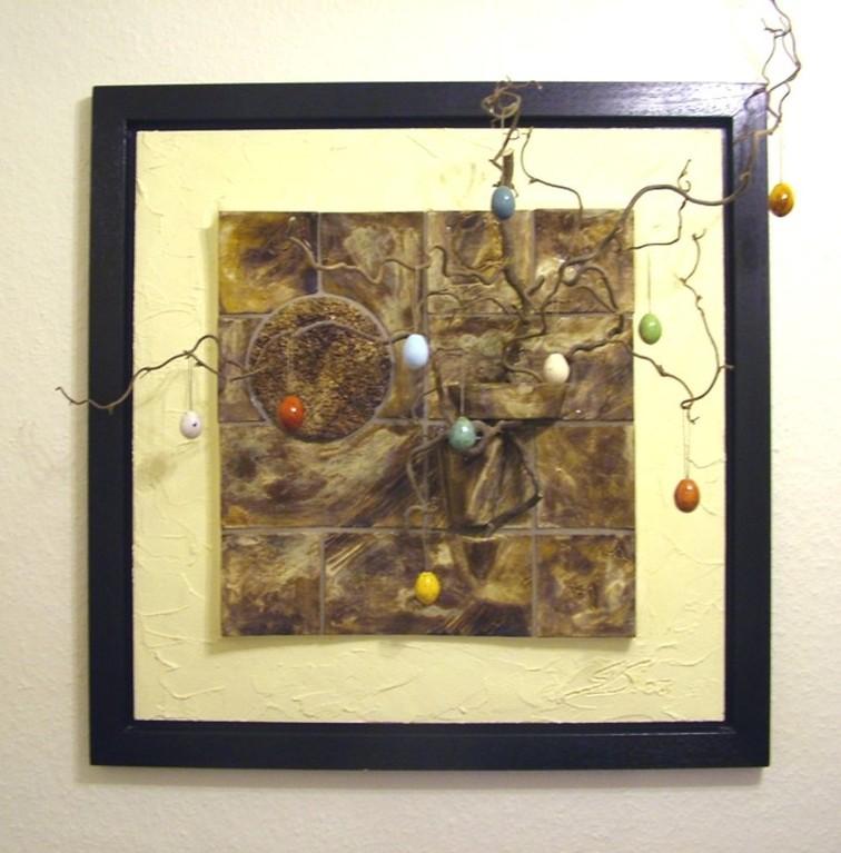 "Wandrelief ""Quadrate"" (Keramik glasiert, Acrylfarbe, Spachtelmasse, Holzrahmen-Schattenfugenrahmen)"