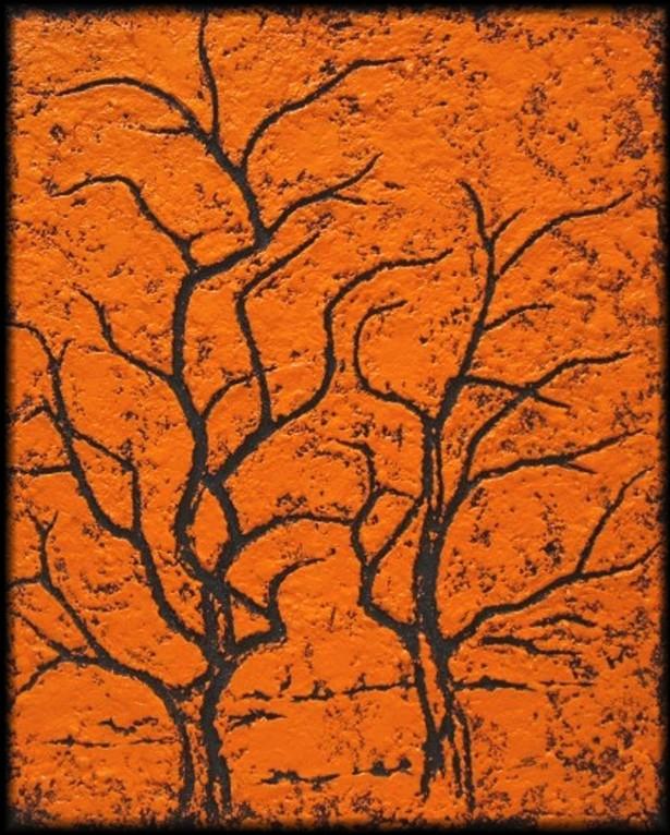 "Collagebild ""Herbstlaub"" (Acryl, Sand, Farbpigmente auf Leinwand)"
