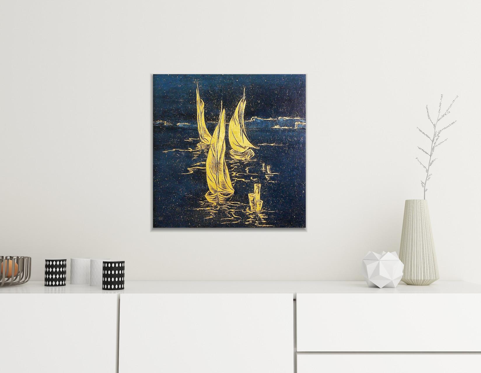 Ölbild mit Blattvergoldung