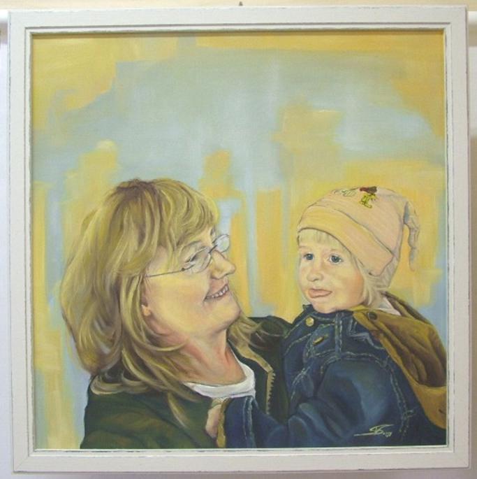 "Gerahmtes Ölbild ""Mutter mit Kind"" (Öl, Leinen)"