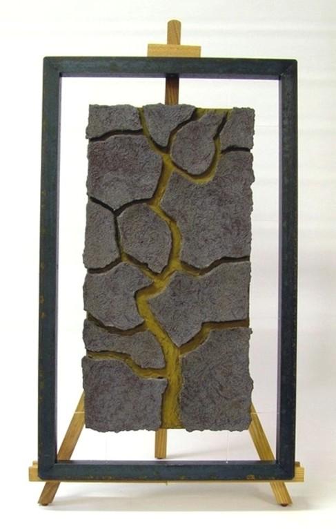 "Relief ""Baum - I"" (Keramik, Rostoxid, freihängend im Metallobjektrahmen)"