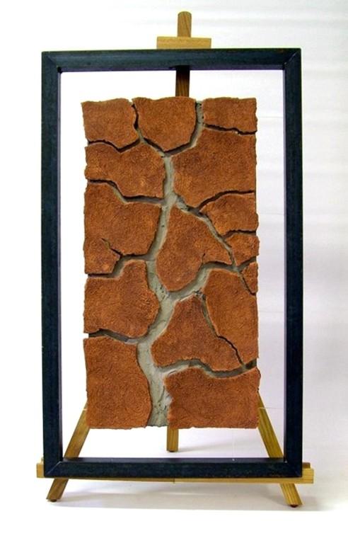 "Relief ""Baum"" (Keramik, Oxid, freihängend im Metallobjektrahmen"""