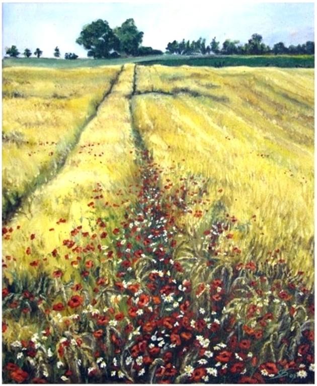 "Ölbild ""Mohnblumen auf dem Feldweg"" (Öl auf Leinen)"